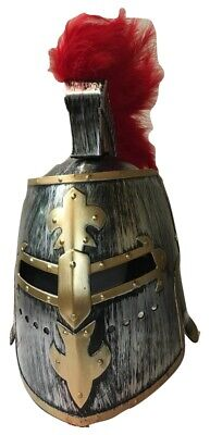 Antique Pewter Medieval Knight Helmet Great Helm Crusader Costume Red Plume
