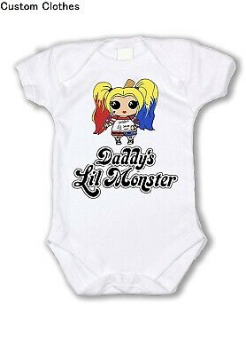 NEW SUICIDE SQUAD HARLEY QUINN Onesie JUGGALO Baby DADDYS LIL MONSTER LITTLE