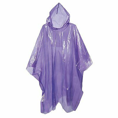 Adult Rain Poncho Purple Waterproof Plastic Disposable Rain Hat Hood Ladies Mens