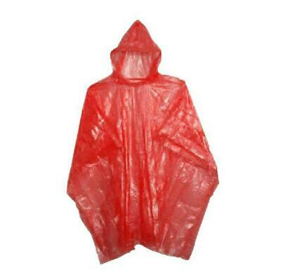Adult Rain Poncho Red Waterproof Plastic Disposable Rain Hat Hood Ladies Mens