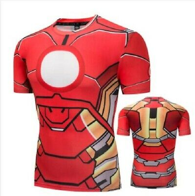eb5a3a4fd636d Mens Marvel The Avengers Infinity War Iron Man Short Sleeve Compression T- Shirts