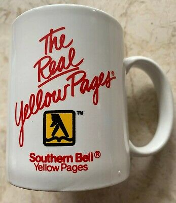 Yellow Pages Coffee Cup / Mug Telephone Bell System Advertising Southern Bell