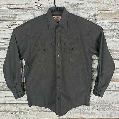 92953055 Miller Ranch Western Mens Button Down Shirt Blue Long Sleeve Plaid Size  Medium