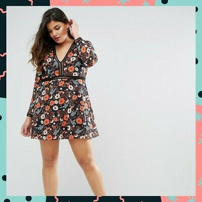 5def102ad3a1 BRAND NEW | ASOS CURVE Boohoo Plus Size Floral Mini Tea Dress | Size UK 24