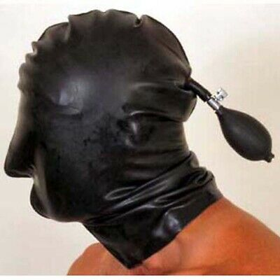 Inflatable Latex Hood with Nose Holes - Rubber Mask Shiny Clothing