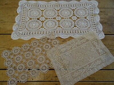3 Large Vintage Crochet Lace Table Mats / Runner / Doilies. White and Cream