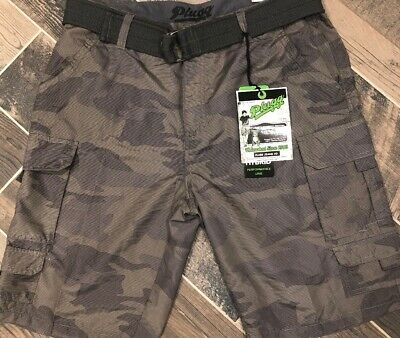 df684c998d Plugg Hybrid Army Green Camo Cargo Belted Shorts 34 NWT Pockets Performance  Mens