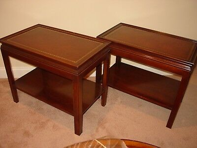 VINTAGE PAIR of MAHOGANY END TABLES WITH LEATHER INLAID TOPS