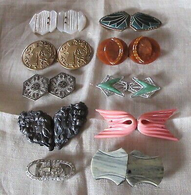 Vintage lot of 10 Early Plastic, MOP, Metal, Clear RS Two Piece Belt Buckles