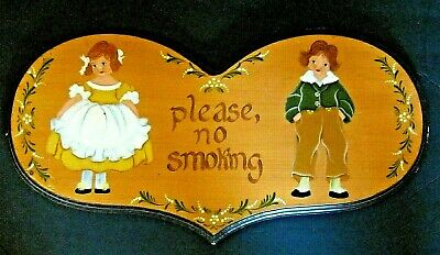 Custom Made Hand Painted Solid Wood No Smoking Sign Heart Shaped New