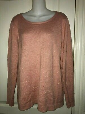 NWT Old Navy Pale Pink Women Crew Neck Women Sweater Lurex Metallic Size XL