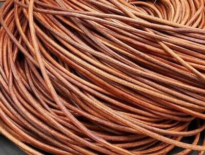 De 5 a 90 metros Cordon cuero autentico 3mm NATURAL MARRON MEDIO (CC3-04) cueros