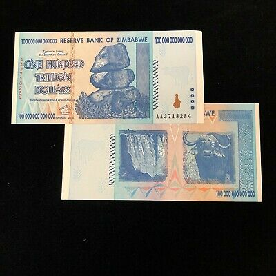 (1) 2008 Zimbabwe 100 Trillion Dollar Note Aa Gem Uncirculated Authentic