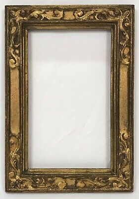 Antique Early 20th C Arts & Crafts Gold Gilt Frame 5 3/4 x 9 1/2 Opening