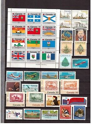 Canada Lot Of 75 Different Stamps Mint Nh, Face Value $17.62 !!