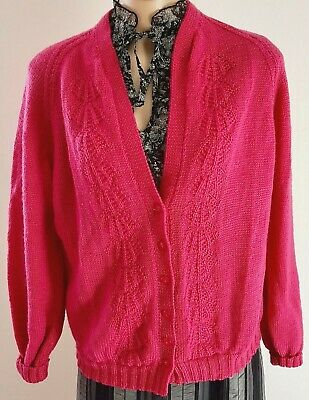 Vintage 80s HAND KNITTED Fan Pattern Fuchsia PINK V Neck CARDIGAN size 12