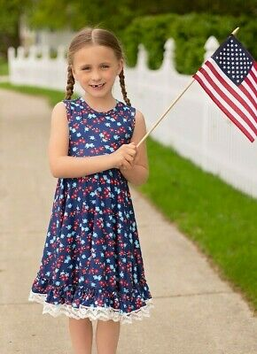 4th Of July Dress, girls 3T 4 5 6 7 8 9 clothing Outfit Fourth, Patriotic Red
