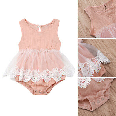 Toddler Kids Baby Girl Solid Princess Sleeveless Romper Lace Sunsuit Outfits