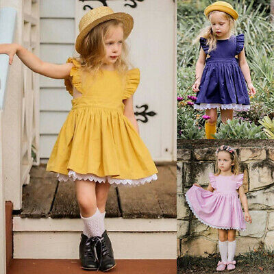 7b103b198 Kids Baby Girls Dress Lace Floral Party Dress Short Sleeve Solid Dress  Clothes