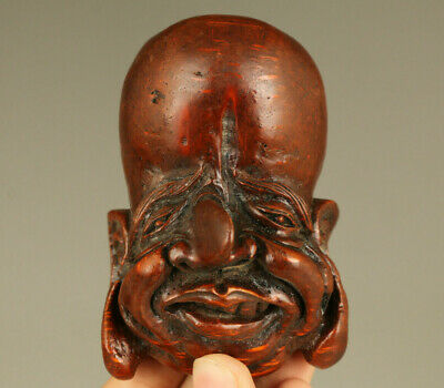 Rare old hand carving bamboo root Buddha face statue figue pendant decoration