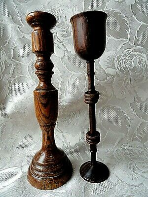 two Old Wooden Single  Candlesticks h - 22 cm.