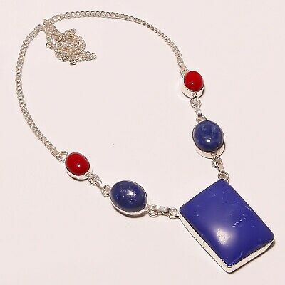 """Awesome Lapis Lazuli Coral Gemstone Silver Plated Handmade Necklace 17-18"""""""