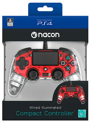 NACON Controller Wired Rosso Luminoso PS4 Playstation 4 NACON