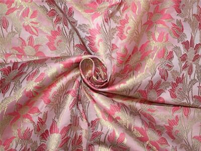 "Silk Brocade Fabric baby pink/pink and metallic gold 44""wide BRO659[4]"