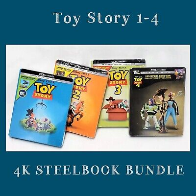 New Pixar Toy Story Limited Edition Steelbook 4k Ultra HD Bluray Bundle set Gift