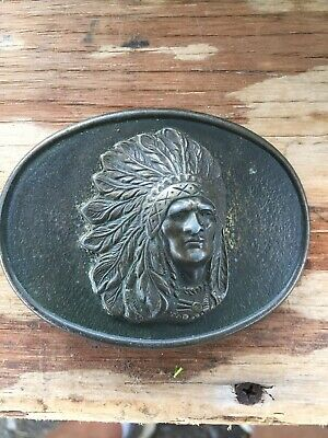 Native American/Indian/Chief - Vintage - Belt Buckle - Brass - Oval MADE IN USA