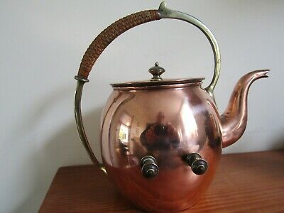 French Arts and Crafts copper brass and cane spirit kettle, tin lined, Louvre.