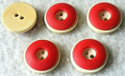 5 Vintage Laminated Cherry Red French White Bakelite Celluloid Buttons, Lot B 32