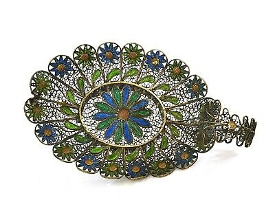 1930's Chinese Gilt Sterling Silver Enamel Filigree Chrysanthemum Tea Dish Tray