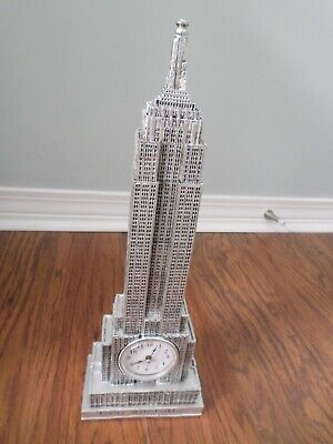 New York City Empire State Building Structure & Quartz Clock 16 Inches Tall