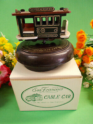 San Francisco Musical Cable Car On A Wooden Base - I Left My Heart In San F # 39