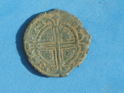 Medieval Hammered Jetton Token Tally  Crown Metal Detecting Find