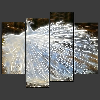 White Peacock Cascade Canvas Print Picture Ready To Hang