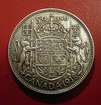 CANADA Canadian 1938 silver fifty 50 cent cent piece half dollar coin