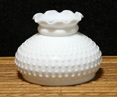 "Vintage Replacement Lamp Shade Hobnail Milk Glass Crimped 9 Top 8"" Diameter"