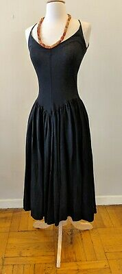 Rare Betsey Johnson Black Jersey Fit n Full Flare Dress Drop Waist Punk Label
