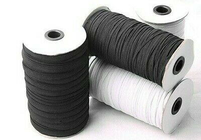 Braid Cord Flat Elastic Roll Superior Quality Dressmaking - Choose Size & Colour