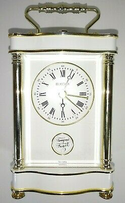 "Vtg Mini Bulova Tempus Fugit Brass Carriage Style Alarm Clock GERMANY  7""T X 3""W"