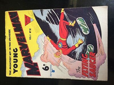 YOUNG MARVELMAN #31 (L. Miller) Mick Anglo Flying Saucer cover. RARE March 1954