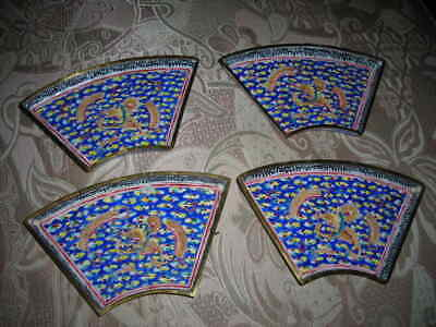 4 Rare Marked Antique 1800 Dragon Famille Rose Chinese Canton Enameled Trays 6X4