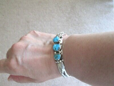 Sterling Silver 3 Turquoise Stone Stamped S Bracelet
