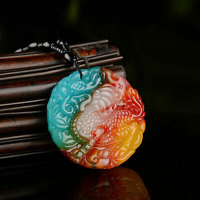 Round Pixiu Chinese Natural Jade Hand Made Carved Pendant Agate Necklace Collect