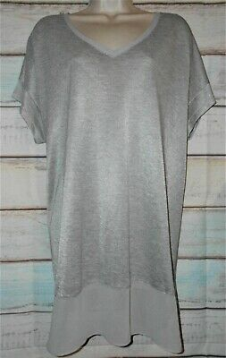 9b757793502 Lane Bryant Women's Top Tunic Silver Short Sleeve V Neck ~PLUS SIZE 18/20