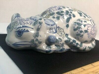 Ceramic Porcelain Laying Cat Figurine Floral Design  Blue, Green, And Light Pink