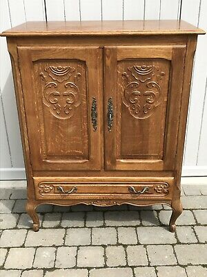 Louis Xv Style French Carved Oak Hall Cabinet Cupboard Sideboard Buffet Key.