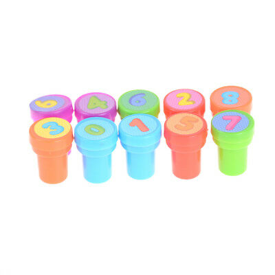 10Pcs Children Plastic 0-9 Numbers Rubber Self Inking Stamper Toy Kids GifFEH